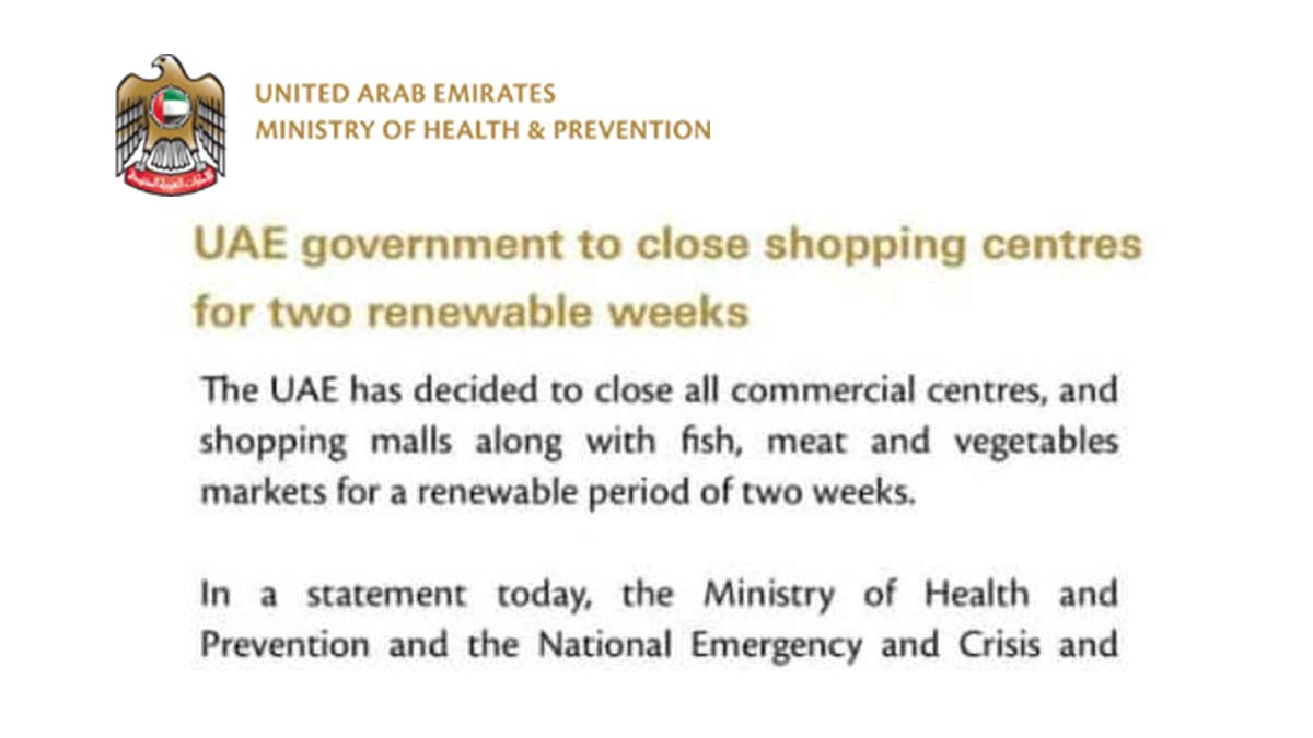 uae decided to shutdown shopping malls and commercial centers